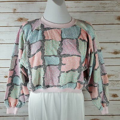 Vintage 80s/90s Half Crop Belly Sweatshirt M Pink/Aqua/Black Exercise Abstract