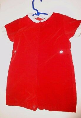 Vintage Red Velour One Piece Romper by Sears 24 - 30 months