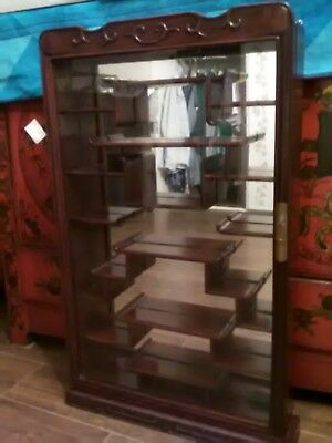 Chinese vintage rosewood display mirrored cabinet