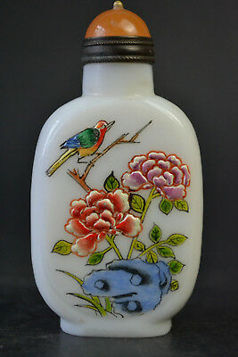 China Collectible Decor Old Glass Handwork Painting Exquisite Snuff Bottle