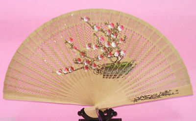 Chinese Oriental Folding Sandalwood Hollow Carved Hand Fan Plum Blossom Pattern
