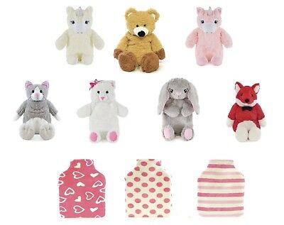2 Litre Animal Unicorn Rabbit Stripe Pink Cream Fleece Hot Water Bottle & Cover