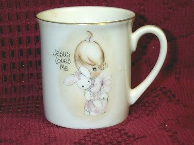 1978 Precious Moments Jesus Loves Me Girl & Rabbit Small Tea Cup Ceramic 2 1/2""