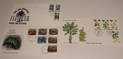 1993 FIJI FDC COVERS x3 RUGBY 7's, NUDIBRANCHS,FRUIT