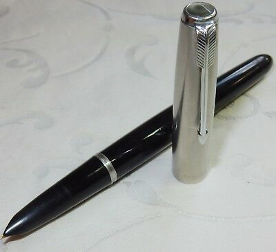 Vintage Parker 51 Fountain Pen Mk1 Black & Lustraloy 14K Fine Med Nib Serviced