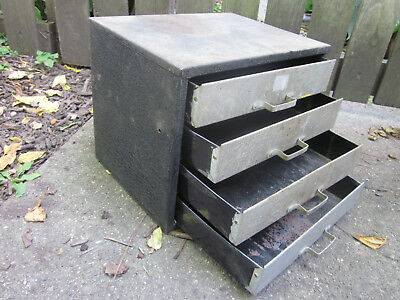 Vintage 4 Drawer Metal Small Parts Tool Cabinet Industrial Garage Work bench