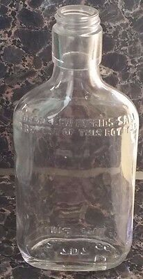 Vintage Whiskey Bottle Clear Color 7 X 3 Inches