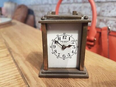 Antique New Haven miniature Carriage Clock with porcelain face
