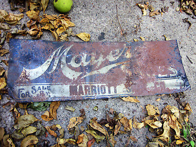 Vintage 1900s  Mayer Shoes Tin Tacker Sign Rusty Marriot Shoe Co