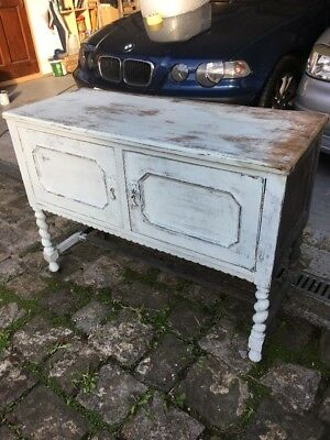 Antique oak sideboard Or Chest With Wheels And Needs Finishing And TLC