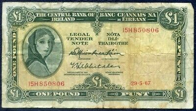 1967 Central Bank Of Ireland £1 : One Pound