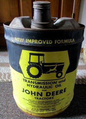 RARE Vintage JOHN DEERE TRANSMISSION & OIL 5 GALLON CAN..L@@K!