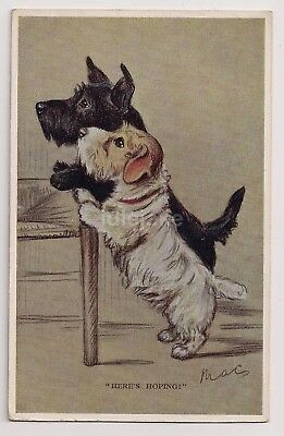 Mac Signed Scottie & Terrier Here's Hoping Dog Postcard 1930s Valentines no 1996
