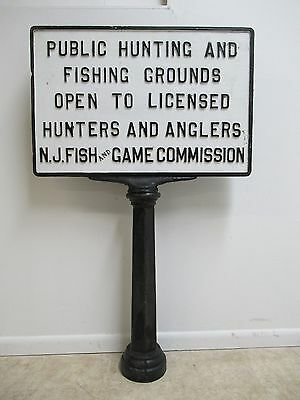 Antique Cast Iron Fish & Wildlife Fishing Hunting Sign Pedestal  New jersey