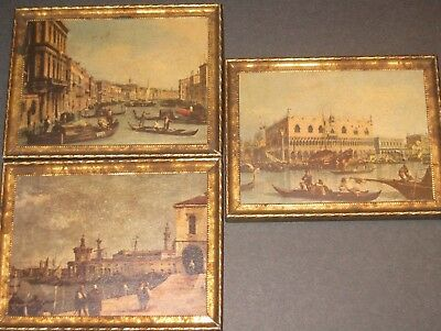 Vintage Venice Italy Gold Framed Pictures Collectible Art Antique Decorative Lot