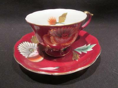 Trimont China Beautiful Vintage Demitasse & Saucer Red with Hand Painted Design