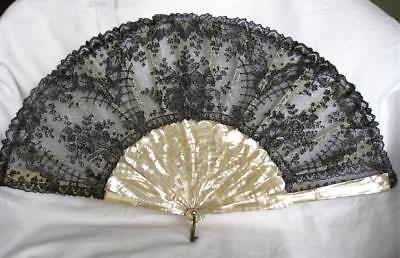 Attractive Antique Black Lace and Mother of Pearl Fan