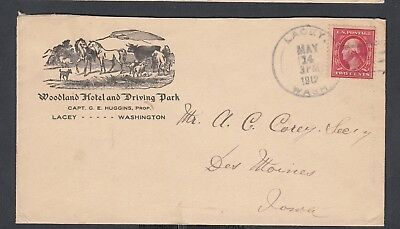 Usa 1912 Woodland Hotel Illustrated Cover Lacey Washington To Des Moines Iowa