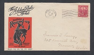 Usa 1927 Golden Rule Hotel Illustrated Cover Pendleton Oregon To Moscow Idaho