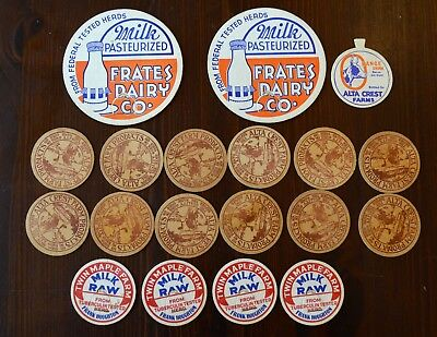 LOT 19 Massachusetts Vintage Cardboard Milk Bottle Caps Brookfield New Bedford +