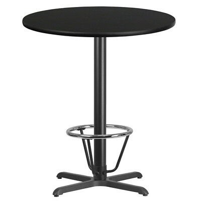36'' Round Black  Laminate Table Top W/ 30'' X 30'' Bar Ht Base Foot Ring