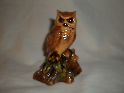 """Vintage Terre Stone By Orzeck 3 1/2"""" Tall Owl Resting On Branch Figurine"""