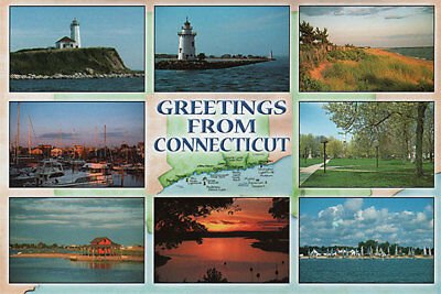 Greeting From Connecticut Nine Views Shoreline Magnet