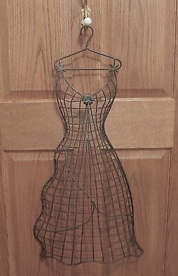 "Metal Half Round Heavy Wire Dress Form Mannequin Wall Hanging 31"" Tall"