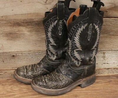 Lucchese Womens Black Croc Print Leather Western Boots Sz 6.5B