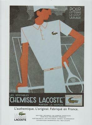 Chemises Lacoste Golf Tennis Wear PRINT AD 1997 French Fabric Vintage Rare