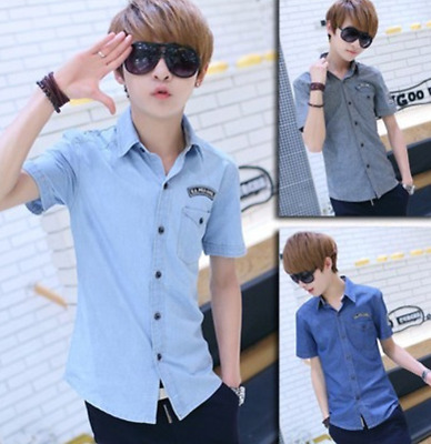 Summer Korean version of the new men's short-sleeved solid color shirt