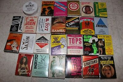 Lot of Vintage Condoms Great Adverting Graphics From Dispenser