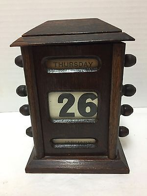Perpetual Desk Calendar Wood 8 Knobs Antique English Oak