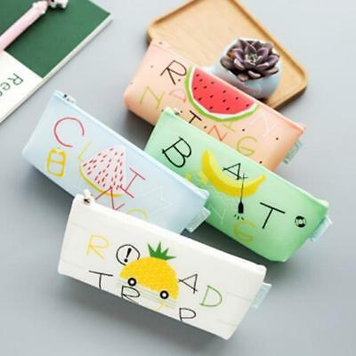 Cute Fruit Silicone Pencil Case Pen Bag Pencil Box Stationary Pouch Makeup Bag S