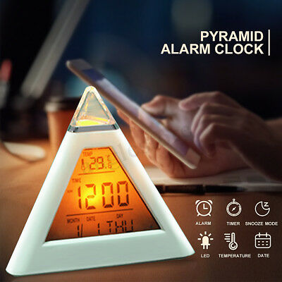 LED Digital Alarm Clock 7 Color Night Lamp Changing Thermometer Pyramid Desk Bed