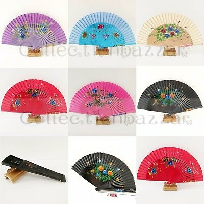 One Side Painted Hand Fan Wood Spanish Flamenco Vintage Wooden Folding Hand Fan