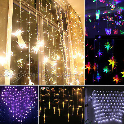 String Fairy Net Lights Icicle Hanging Snow Curtain Tree Indoor Outdoor Decor