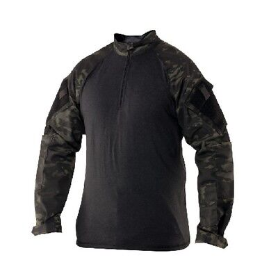 Tru Spec 2539025 Men's Combat Shirt Multi-Cam Black 1/4 Zip Large Long
