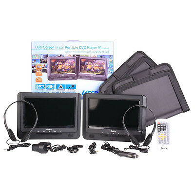 """Twin 9"""" Screen in-car Portable DVD Player, Seat Straps, Remote."""