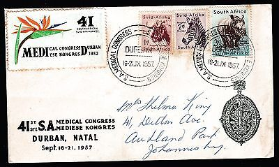 1957 South African Medical Congress Cover 1954 Animal Predecimal Stamps #i9