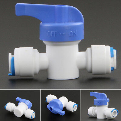 "1/4"" Push Fit Pipe Tube Fittings Unit OFF ON Ball Valve For Aquarium Fish Tank"