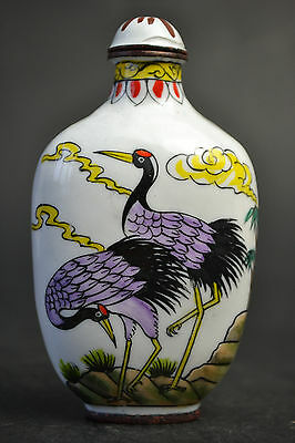 Nice Vintage China Collectible Cloisonne Hand Painting Bird Snuff Bottle