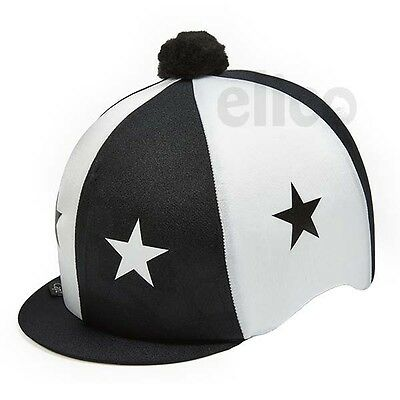 Black & White Stars Riding Hat Silk Cover For Jockey Skull Caps One Size