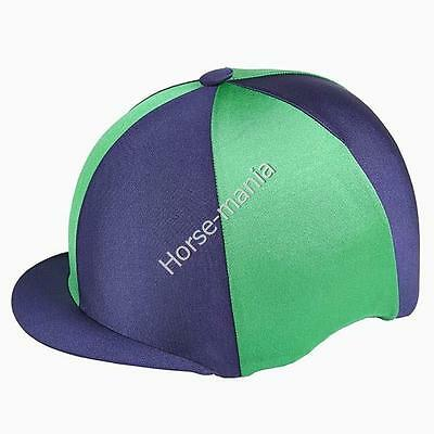 Navy & Green Capz Riding Hat Silk Cover For Jockey Skull Caps One Size