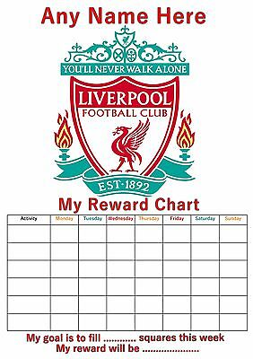 Personalised Childrens A4 Reward Behaviour Chart Liverpool Football & Stickers !