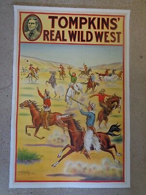 "Original Tompkins' Real Wild West Poster ""Trick Riders"" Linen Backed C 1914"