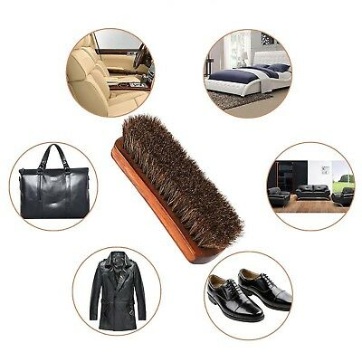 Leather Shine Brush With Soft Horsehair Bristles for Shoes, Leather Cloths, Bags
