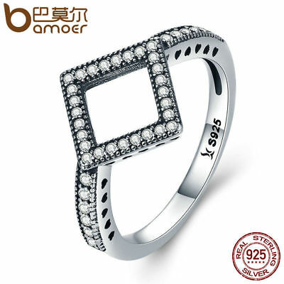 Bamoer .925 Sterling Silver square Ring with CZ  Geometric Radiance For Women
