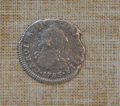 1783 Ff- 1/2 Real - Carlos Iii - Cleaned - Very Good Details -Silver- Shipwreck?