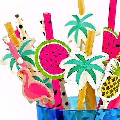 COCKTAIL DRINKING STRAWS Tropical Summer Beach Party Solid Paper Decoration Set
